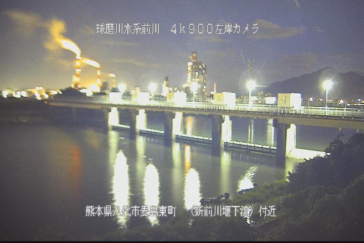 球磨川[八代市麦島東町 新前川堰下流]氾濫洪水 ライブカメラ